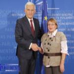 Лейла с председателем Европарламента Ежи Бузеком, 2011 г.